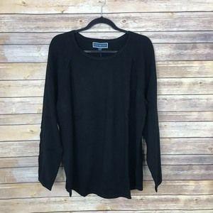 Karen Scott 1X Scoop Neck Curve Hem Sweater A2